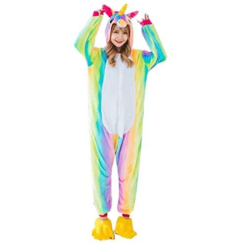 Unicornio Pijamas de Pijamas para Mujer de Pijama para Hombre Adulto Cosplay (L, Arco Iris)