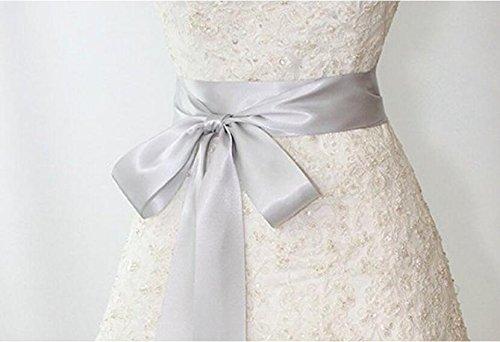 Shinybeauty 40 mm stufenlos solides beidseitiges Satinband, Hochzeitsband, Brautschärpe, Brautjungfernschärpen, Gürtel für Strassapplikationen und handgemachte Hochzeits-Stoffkarten -3 yards, silber, Width is 4cm, Length around 3 ()