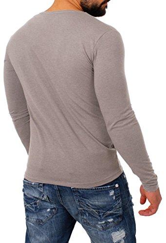 Young&Rich Herren Longsleeve Tiefer V-Ausschnitt Langarm Shirt Einfarbig Slimfit mit Stretchanteilen Uni Basic Deep V-Neck Tee Hellbraun