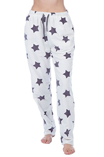 Selena Secrets Womens Fleece Star Design Lounge Pantaloni neri o crema Cream Star