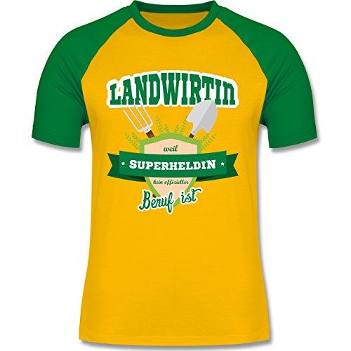 Landwirt - Landwirtin - weil Superheldin kein offizieller Beruf ist - zweifarbiges Baseballshirt für Männer Gelb/Grün