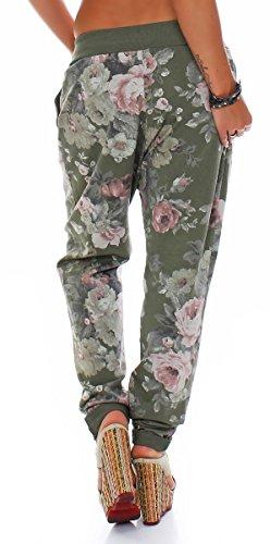 malito Damen Jogginghose mit Flower Print | Sporthose mit Knopfleiste| Baggy zum Tanzen | Sweatpants