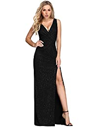 265f90a8606c Ever Pretty Women s Elegant V Neck Floor Length A Line Long Knit with  Glitter Formal Evening