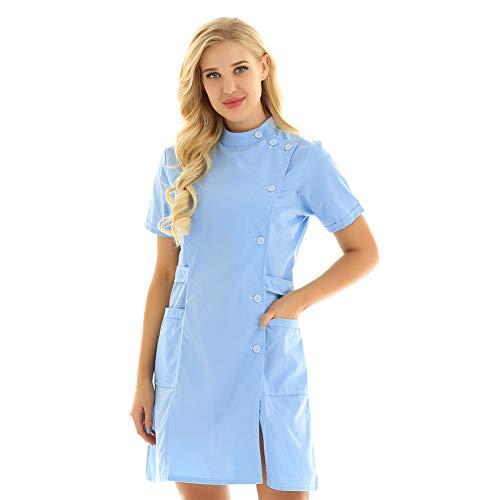 Best 6U Frauen Kurzen Ärmeln Einfarbig Krankenhausarzt Uniform Peeling Tops Medical Services Laborkittel Erwachsene Krankenschwester Kleid - Kostüm Medicale