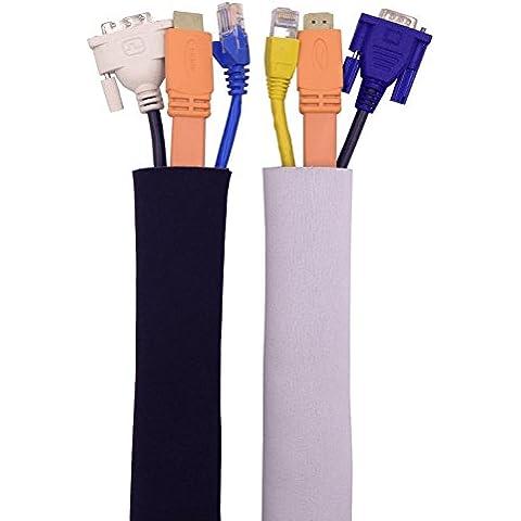 Funda Para Manejo De Cables |Organizador Blanco y Negro Ajustable Para Cable de 200cm, Hecho de Neopreno Flexible De Calidad Premium| Organizador de Cordones