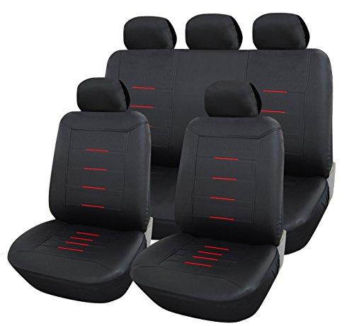 Preisvergleich Produktbild Auto Schonbezüge Kunstleder Sitzbezug Sitzbezüge Universal Schonbezug grau, Kunst Leder Sitzbezüge:B35 Schwarz / Rot