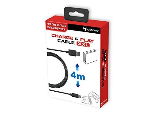 Subsonic – Charge & Play cable XXL – Câble de recharge USB C XXL – Câble type C de 4 mètres pour Nintendo Switch, console et accessoires Pro Controller, Joy-Con, tablette et smartphone