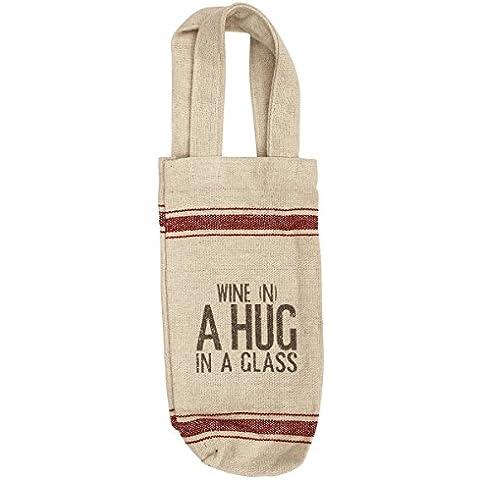 SouvNear titular de la botella de vino sólido bolsa con asas–43,18cm–hecho a mano SouvNear Beige bolsa para botella de vino/Soporte en algodón Khadi? Regalos