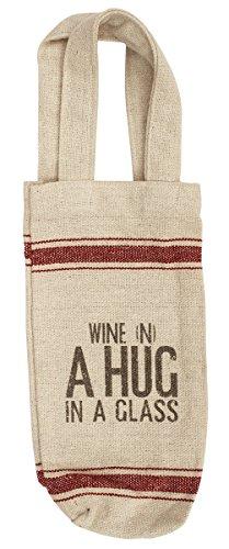 Souvnear 43.1cm porta bottiglia di vino solido borsa con manici–supporto bottiglia di vino beige/borsa a mano in cotone khadi–regalo per gli amanti del vino