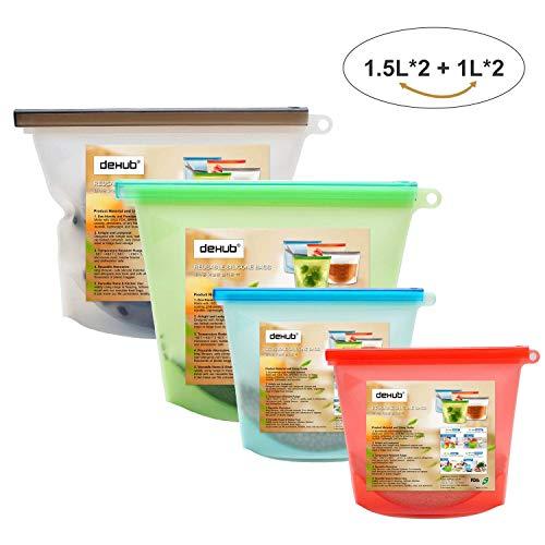 Wiederverwendbare Silikon-Nahrungsmittelspeicher-Beutel,Leck beständig Seal Lebensmittelkonservierung-Behälter für Obst Gemüse Fleisch Kühlschrank Lebensmittel Lagerung und Küche kochen(1L+1.5L)