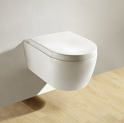 Soho Hänge Wand WC RIMLESS / SPÜLRANDLOS Toilette Brillant Weiss mit Duroplast Soft Close WC-Sitz Nano Beschichtung, Standard (Standard Toilette)