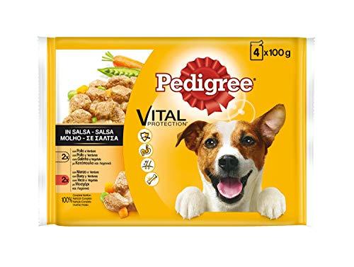 Multipack de 4 bolsitas de 100g para perros adultos de pollo, buey...