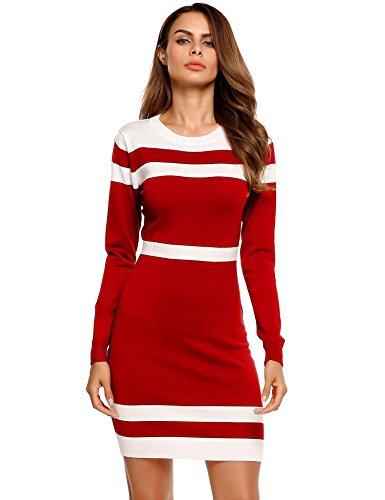 Caeasar Langarm-Kleid Bleistift High-Waist Knielang Kontrastfarbe Pullover Paket Hip Strickware beiläufige unterkleider Rot