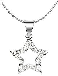 Sternschnuppen Stern Kette Zirkonia Halskette 925 Silber Schmuck