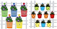 TrustBasket Round Ribbed Railing Planters (Multicolour, Pack of 5) and Trust Basket Round Dotted Railing Plant