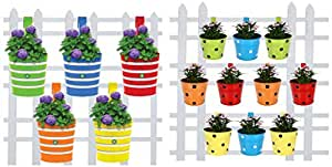 TrustBasket Round Ribbed Railing Planters (Multicolour, Pack of 5) and Trust Basket Round Dotted Railing Planters (Multicolour, Pack of 10)