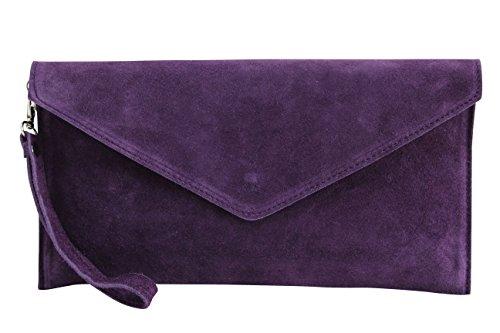 AMBRA Moda Damen Wildleder Envelope Clutch Handschlaufe Handtasche Schultertasche Unterarmtasche Damentasche Veloursleder WL801 (Dunkel Lila)