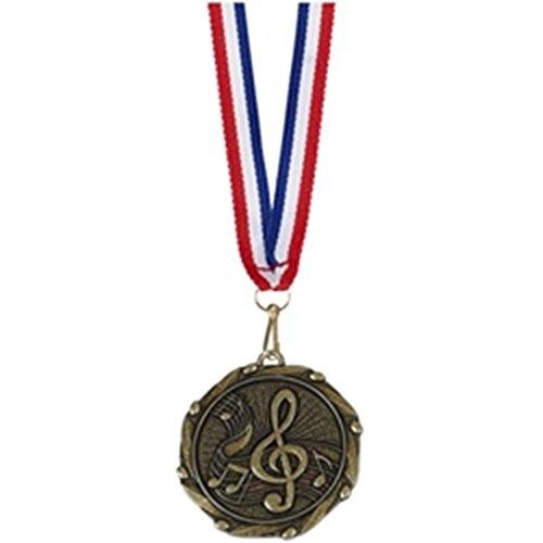 45mm Combo Musik Note Medaille Gold mit Schleife Plus Gratis Gravur bis zu 30Buchstaben am911g (Gold-medaille-combo)