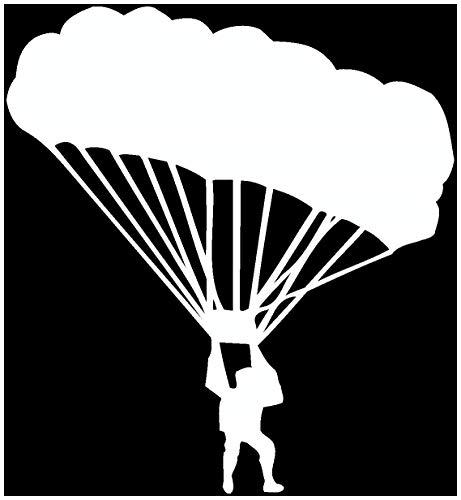 Samunshi® Fallschirmspringer Aufkleber Fallschirm in 6 Größen und 25 Farben (14x15cm weiß)