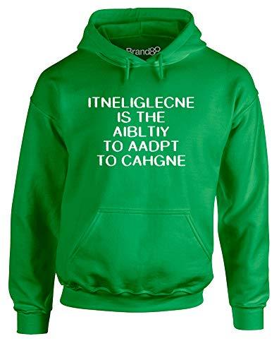 Brand88 Intelligence is, Erwachsene Hoody - Pullover - Grün/Weiß S = 86-91 cm