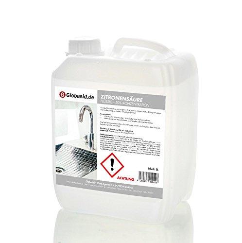 Globasid® Zitronensäure 5l - Entkalker Citronensäure Flüssig Konzentrat 50% - Badreiniger Wasserkocher Kaffeevollautomat -