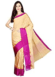 Pavechas Banarasi Solid Cotton Blend Saree - Beige::Magenta