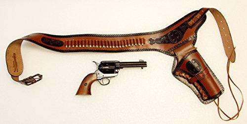 Revolvergürtel Coltgürtel Pistolengürtel mit 24 Dekopatronen aus Messing und Colt Peacemaker (Revolver Für Holster)