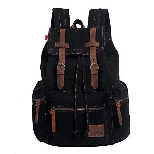 Canvas Rucksack, P.KU.VDSL-AUGUR REIHE Vintage Schulrucksack Daypack Retro Backpack Wanderrucksack Reisetasche Laptoprucksack Umhängetasche mit der großen Kapazität für Herren Damen Outdoor Sports