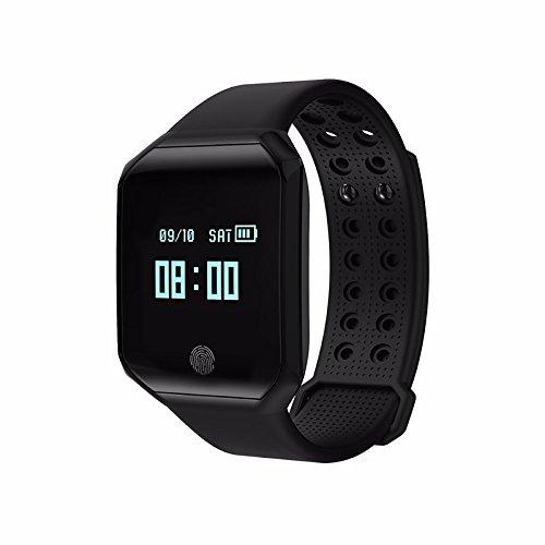 Lemumu Schickes Armband Kalorien Schrittzähler Übung Datensatz APP Control Blutdruckmessung Impuls Tracker Schrittzähleraktivität Tracker, Schwarz gebrannt