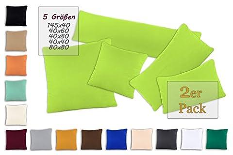 SHC Doppelpack Kissenbezüge | Jersey Kissenbezug | Kissenhülle | Kopfkissenbezug mit Reißverschluss aus 100% Baumwolle 80x80 cm apfelgrün / hellgrün