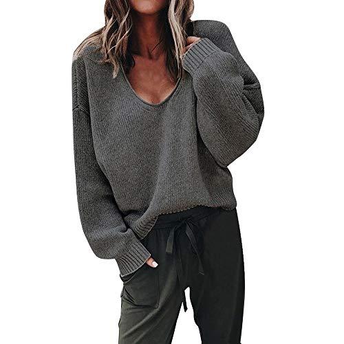 (Damen Pullover Oberteile MYMYG Elegante Strickpullover für Damen Herbst Winter Langarm V-Ausschnitt Batwing Übergröße Gestrickte Lose Täglich Party Freizeit(Tief grau,EU:40/CN-XL))