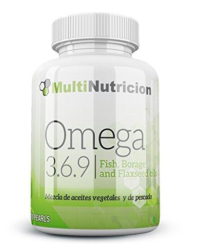 Omega 3.6.9 mezcla de aceites vegetales y de pescado con vitamina E. 180 Perlas. Tratamiento para 3 meses