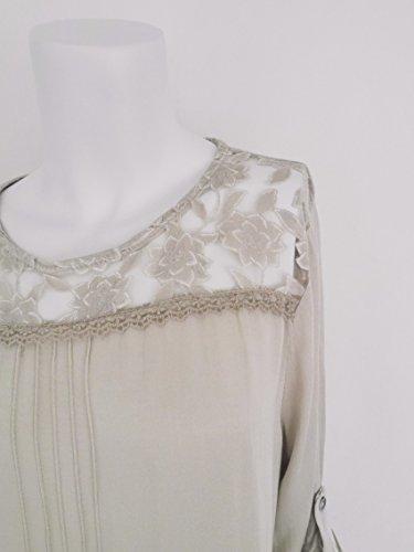 Romantische Damen Boho Bluse Tunika Blusenshirt Häkel Spitze Rosen Blumen Muster S M 36 38 40 (8069) Hellbeige