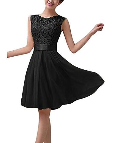 Hippolo Femme Sexy d'été en mousseline de soie en dentelle formelle Boule de mariage soirée Maxi/Mini robe L noir