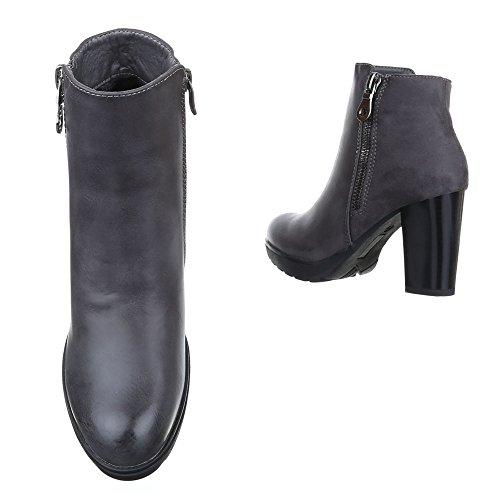 Klassische Stiefeletten Damen Schuhe Schlupfstiefel Blockabsatz Leicht Gefütterte Reißverschluss Ital-Design Stiefeletten Grau