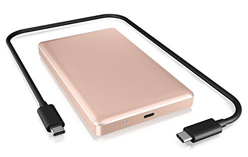 ICY BOX Externes USB-C Gehäuse für 2,5 Zoll HDD/SSD, USB 3.1 (Gen 2, 10 Gbit/s), Aluminium, werkzeuglos, rosa