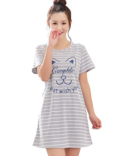 Menschwear Damen Pyjamas Nachthemd nach Hause Kleid Kurzarm Pyjama Baumwolle Pyjama Grau