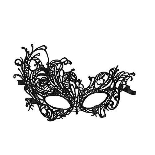 rade Maske Spitze Augenmaske Venezianische Spitze Maske Karneval Maske Dance Party Cosplay Charming Kleidung Zubehör (Schwarz) ()