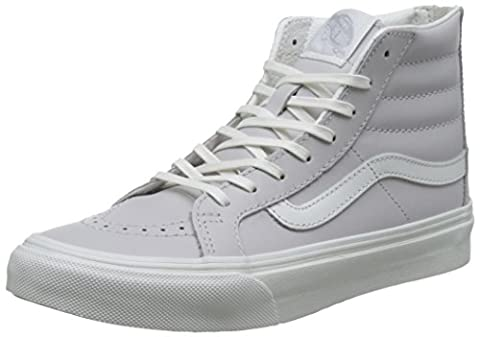 Vans Women UA SK8 Slim Zip Hi-Top Sneakers, Grey (Leather Wind Chime/Blanc De Blanc), 4.5 UK 37 EU