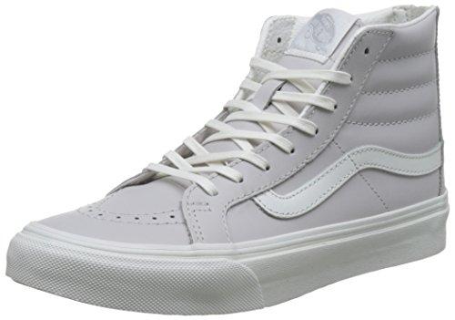 Vans Ua Sk8-Hi Slim Zip, Sneakers Hautes Femme Gris (Leather Wind Chime/blanc De Blanc)