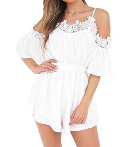 DINGANG® Damen Sommer Strand Jumpsuit Off-Schulter Spitze Spleißen Overall Spielanzug Weiß S