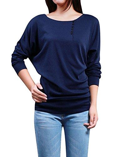 sorcingmap® Allegra K Damen Knopf Dekor Langarm Boot-Ausschnitt Top Shirt Bluse Dark Blau