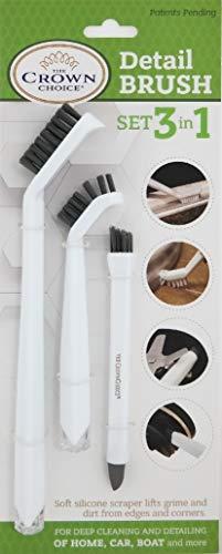 The Crown Choice 3-in-1 Tief sauberere Bürste Tile Linien reinigen Kleine Scrub Brushs Details Küche, Badezimmer, Dusche Reinigung 3pc Hauptreinigungsmittel-Bürsten-Satz 3-in-1-Reinigungsbürsten-Set (Küche Brush)
