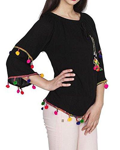 TRIUMPHIN Black Pom Pom Women Off Sholder Cotton Top For Dailywear and Western Wear Women Tops
