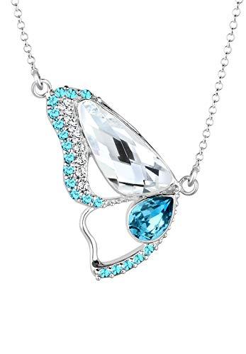 (Elli Damen Halskette Schmetterling Tier Insekt mit Swarovski Kristallen in 925 Sterling Silber)