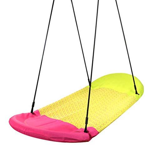 SHARESUN Nestschaukel für Kinder, haltbarer Stahlrahmen wasserdicht, hochtemperaturbeständig, UV-beständig, Hängesitzhängematte für den Innenbereich im Freien,Yellow,L