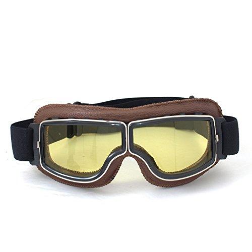 Vintage Motorradbrillen Schutzbrille für Augenschutz,braun/gelb Brillenglas