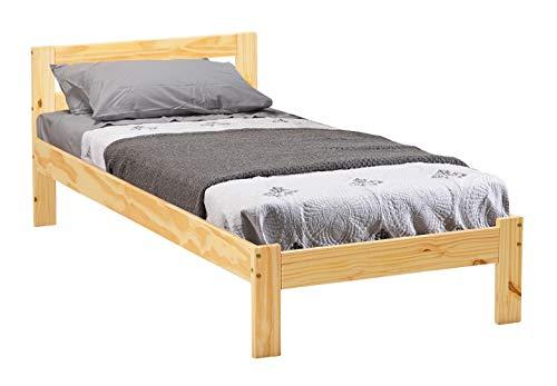Avanti trendstore - jana - letto singolo, struttura in legno massiccio senza materasso e rete a doghe, dimensioni lap: 206x72x96 cm