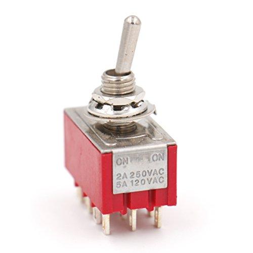 Heschen Miniatur-Kippschalter MTS-402 ON-ON 4PDT 12-polig, 2A 250V, 5A 120V, UR gelistet, 2 Stück -