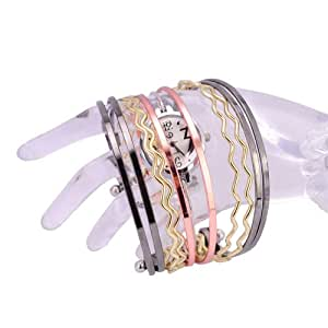 Central World Big Novelty Stainless Steel Bracelet Bangle Watch with Round Dial/Quartz Movement-White